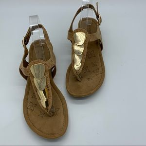 Comfortiva Thong Sandals Cork Gold Accents Summit
